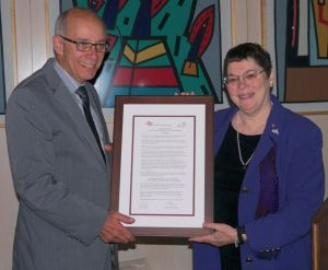 Helen Spector presented Proclamation to Mayor Stephen Mandel